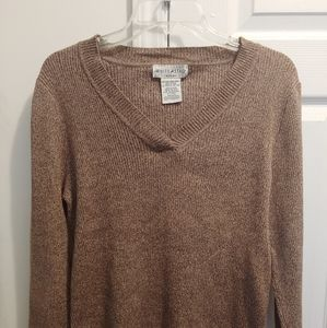 White Stag Women's XL Brown V-Neck Stretch Sweater